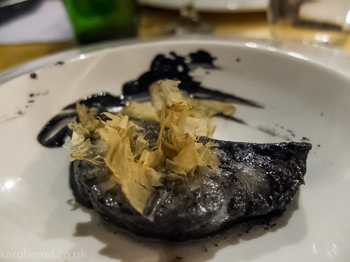 Black cod, squid ink, bonito flakes