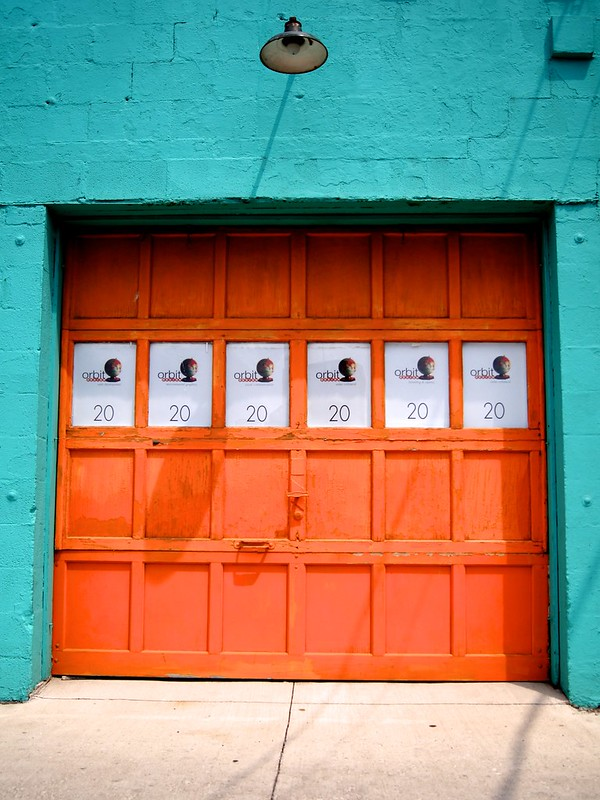 Teal and orange garage