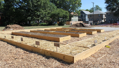 20130824. Fall Creek Gardens' Stone Soup Kitchen Garden beds.