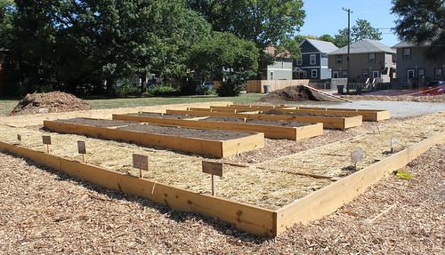 20130824. Fall Creek Gardens' Stone Soup Kitchen Garden beds.
