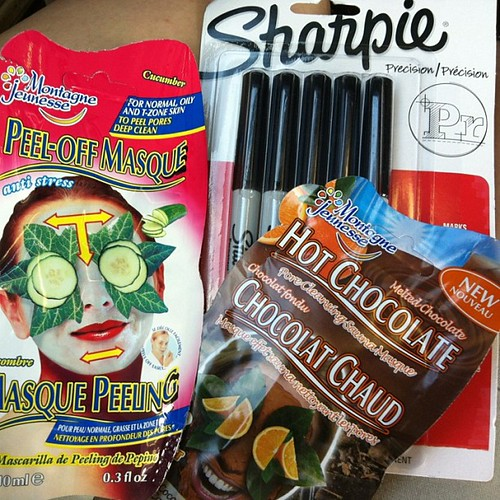 Went to #walmart to pick up #sharpie ultra fine markers. Didn't want to go to the ridiculously long regular checkout, so I used this as an excuse to buy #montagnejeunesse #peeloff #selfheating #masques #excusesexcuses