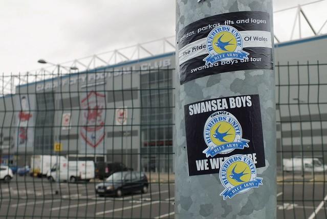 Bluebirds Unite stickers at Cardiff City Stadium