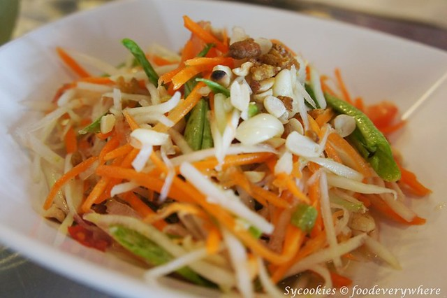 6.papaya salad RM 12 i'm spicy -Green papaya salad dressed in lime juice, dried shrimp, green beans, garlic bird's eye chilies and cherry tomatoes served fresh or deep fried