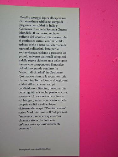 Paradiso amaro, di Tatamkhulu Afrika, Playground 2006. Progetto grafico: Giovanna Durì; impaginazione Cristina Cosi. Risvolto di copertina (part.), 1
