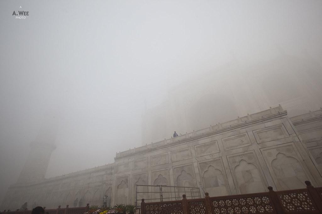 The Taj Mahal shrouded in Fog