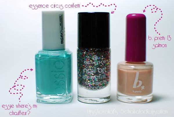 essie where's my chauffeur | essence circus confetti | b. pretty salmon