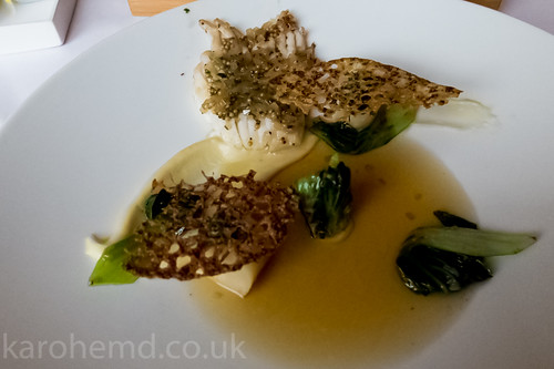 Ray wing, celery, mustard seed, cabbage, dashi broth