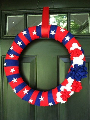 Fourth of July wreath and front door
