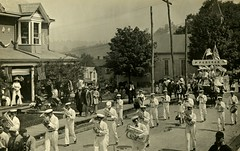 Small-Town Parade with Cornet Band and Church Float