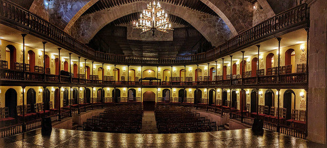 Teatro Hinojosa, Jerez. This historic theater has chairs instead of seats. Originally the audience used to have to bring their own chairs from home.