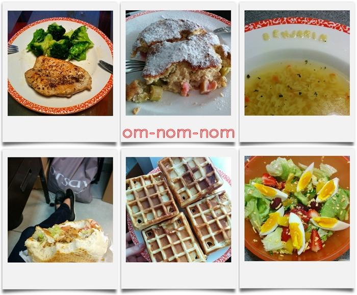 Hühnerbrust | Rhabarber-Griessauflauf | Buchstabensuppe | Kebap | Waffeln | Salat