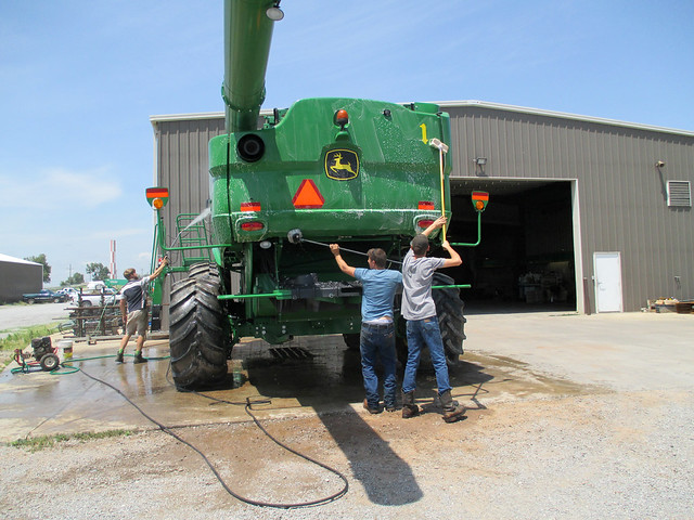 Ed and Austin clean combines