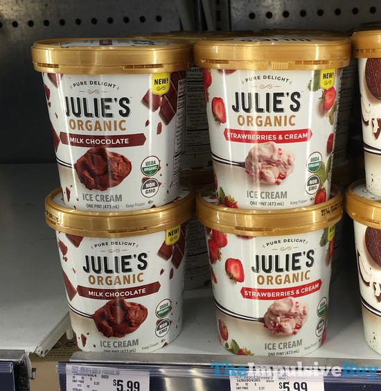 Julie's Organic Ice Cream (Milk Chocolate and Strawberries & Cream)