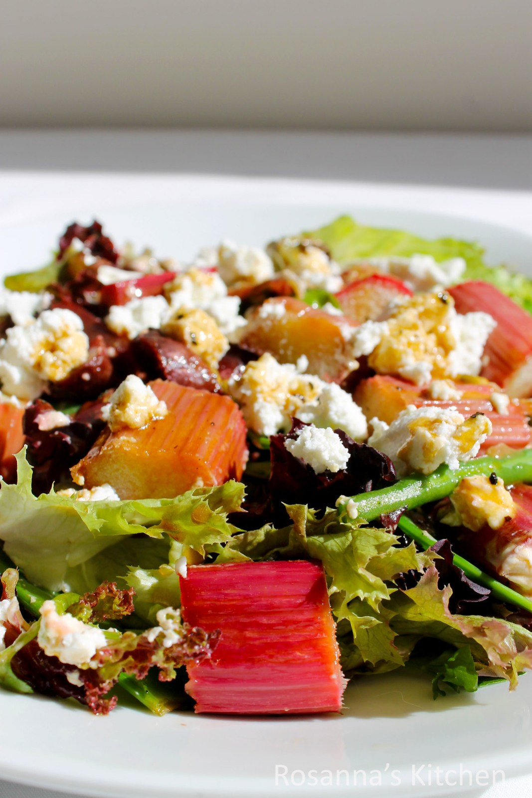 honey roast rhubarb salad
