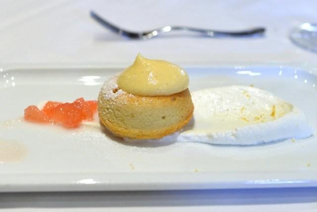 almond gateau basque au parfum de pamplemousse, mousseline and zest