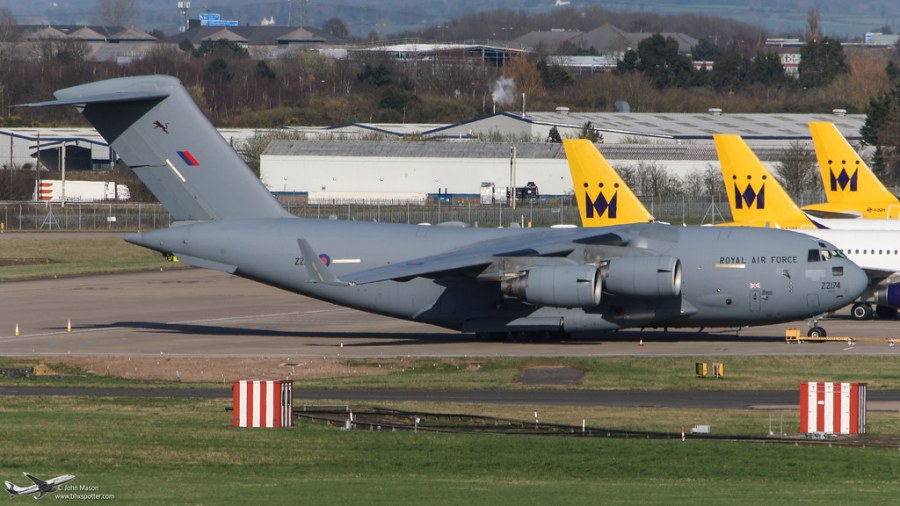 <p>Parked at Birmingham after diverting from Brize Norton</p>