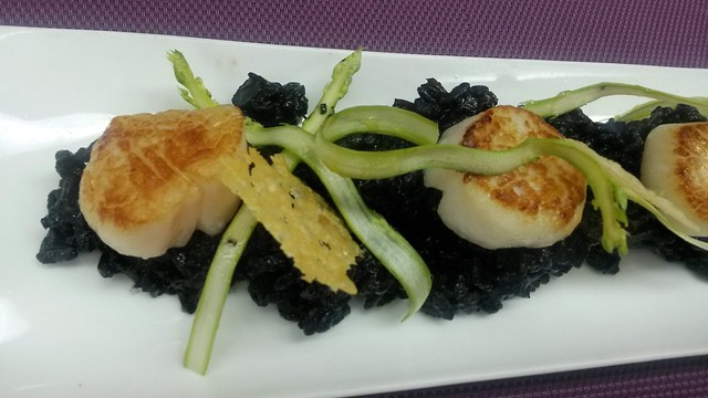 Scallops & black ink risotto
