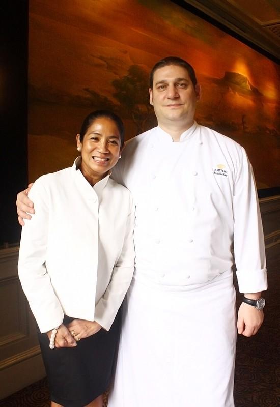 Mandarin Oriental, Manila Executive Chef Rene Ottlik with guest chef Margarita Fores