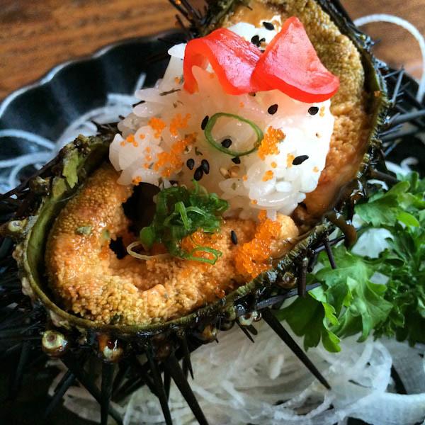 Uni with Sushi Rice, Tobiko and Green Onion - Dami Sushi & Izakaya