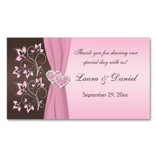 Pink and Brown Floral, Hearts Wedding Favor Tag Business Card Template