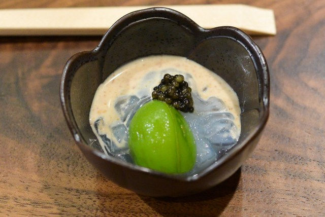 Baby Eel Sashimi, Japanese Peach, Russian Caviar