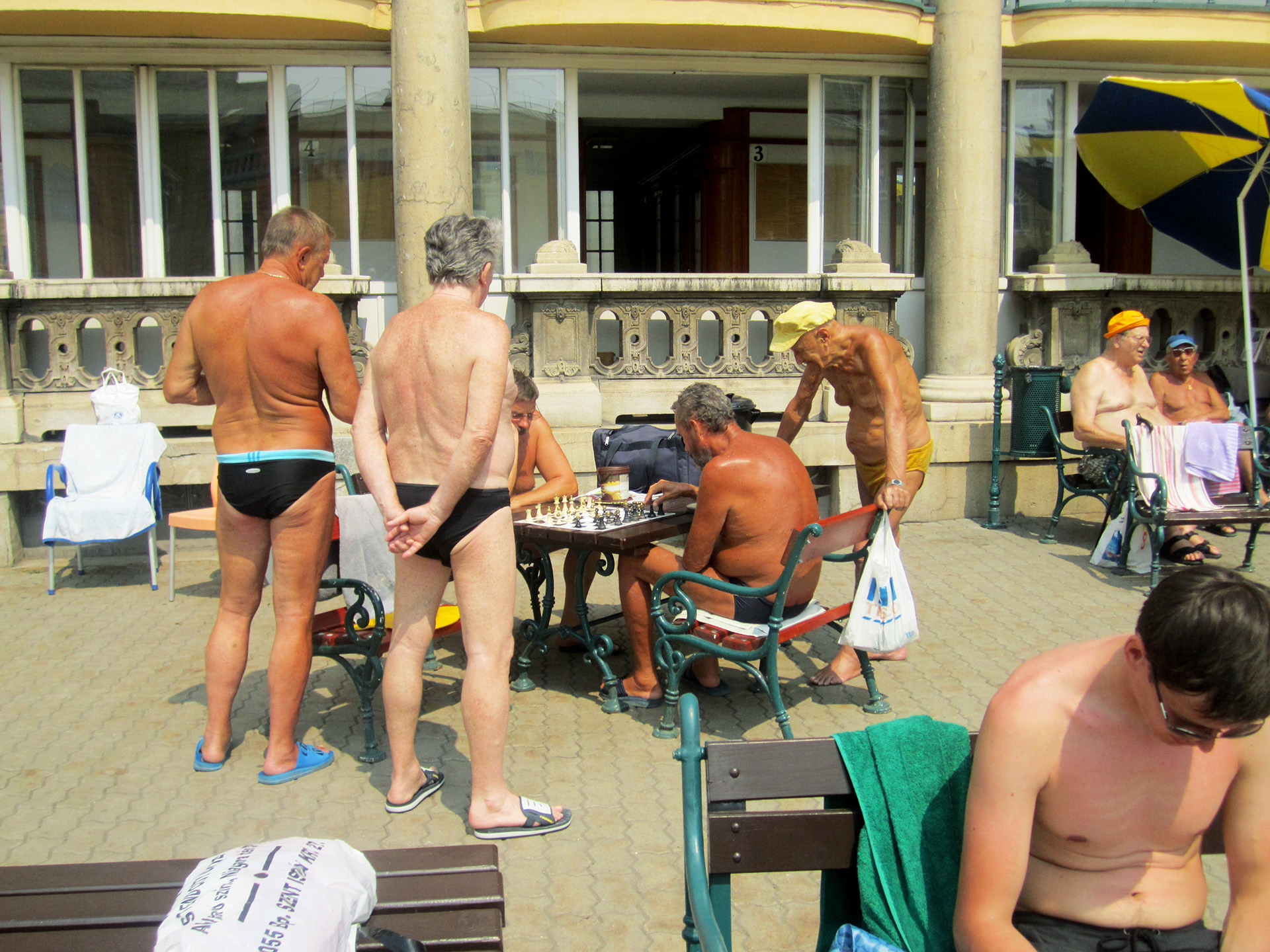 Some locals playing chess at the baths.