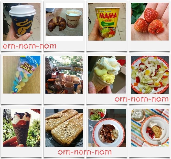 kaffee | croissant | mama nudelsnack | erdbeeren | brause ufos | eis | salat | brot | gulasch | zitronenkuchen