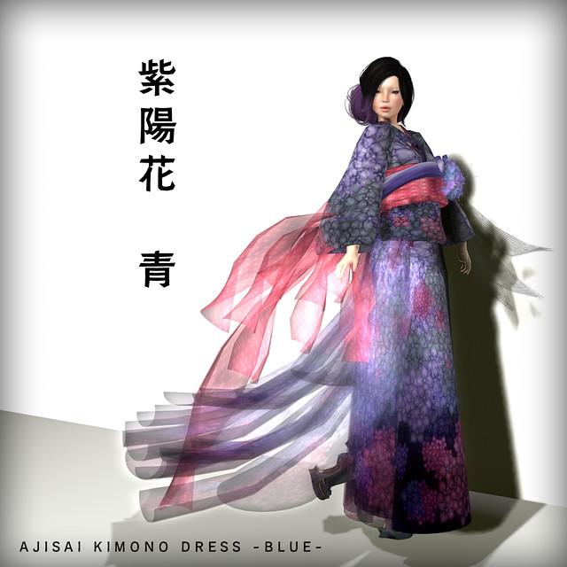 *N*AJISAI KIMONO DRESS BLUE
