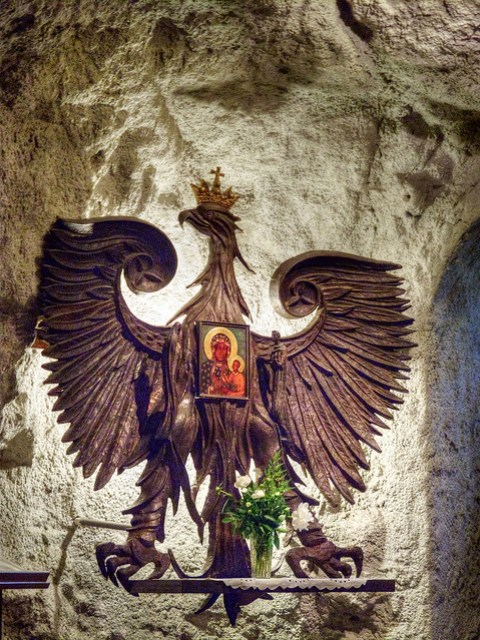 Crest inside Cave Church.
