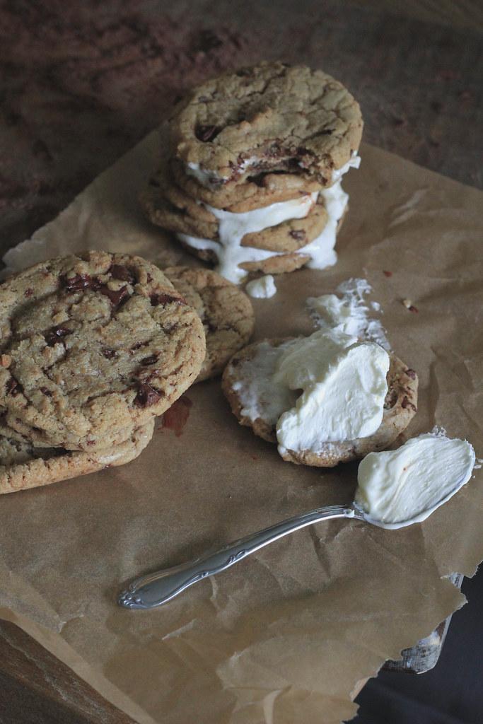 Leaf Lard Chocolate Chip Sandwich Cookies w/ Salted Honey Buttercream