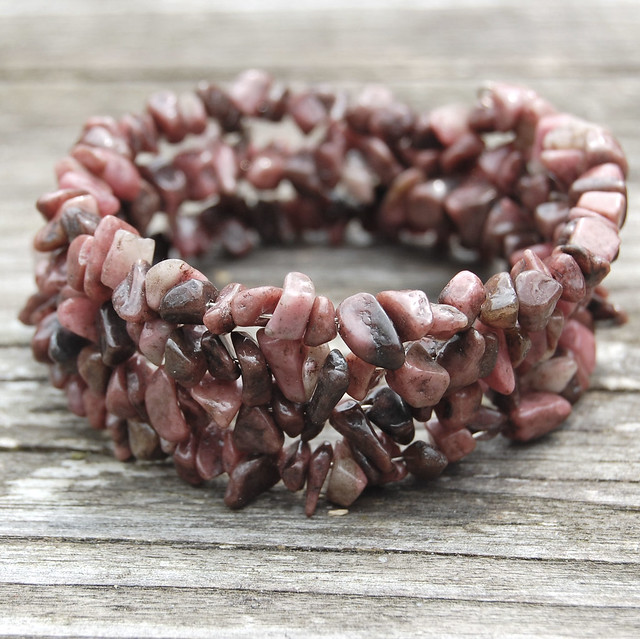 Gemstone spiral bracelets - Rhodonite