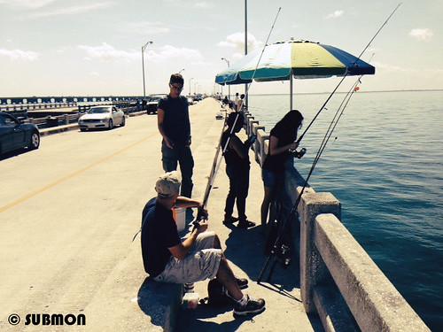 Hablando con pescadores de caña cerca de Madeira Beach, Florida