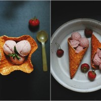 intense strawberry coconut ice cream & almond waffle bowls