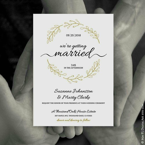 Gorgeous handdrawn antique gold wreath Wedding Invitation template set, includes Details and RSVP card templates http://etsy.me/2n34gmL  #antique #gold #handdrawn #wreath #mywedding #Invitation #details #RSVP #cards