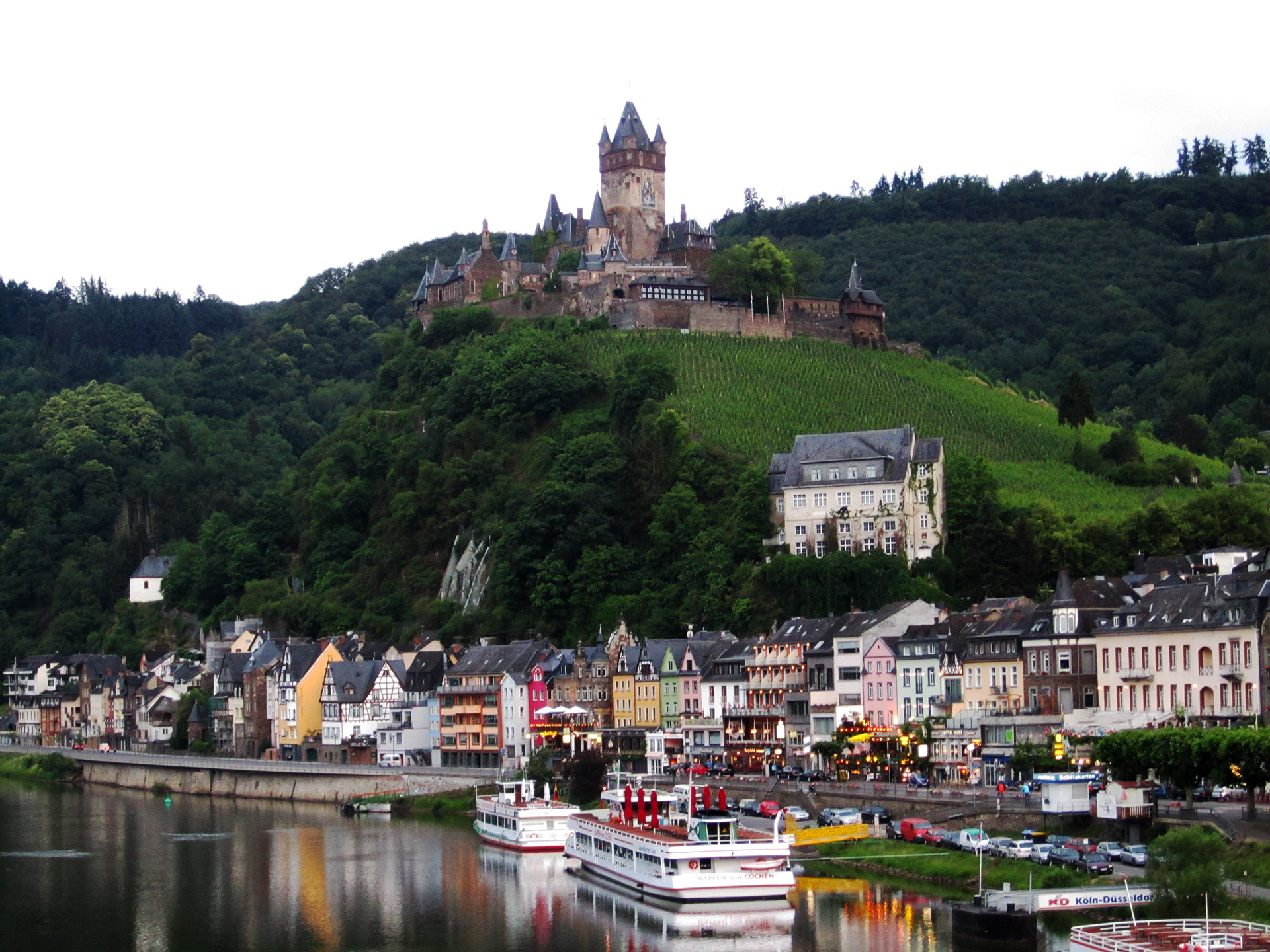 Looking towards Cochem and Reichsburg Castle from the bridge over the Moselle River.