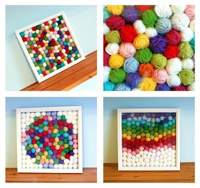 yarn scrap art via easy makes me happy