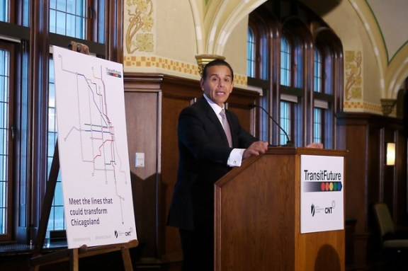 Former LA mayor Antonio Villaraigosa speaking at the Transit Future campaign press conference