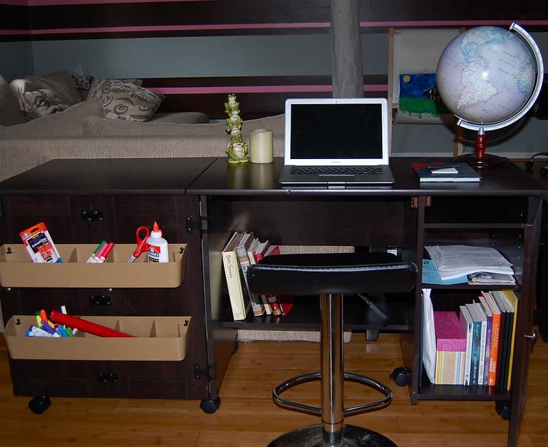 Sauder sewing/craft cart as a computer desk