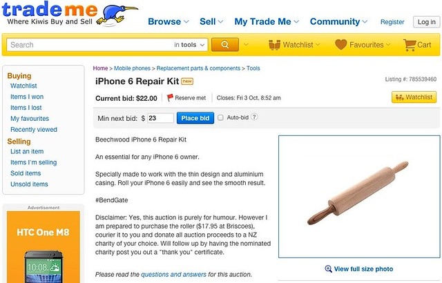 Rolling Pin for iPhone6 and 6 Plus on TradeMe