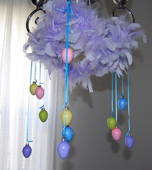 Chandelier decorated for Easter