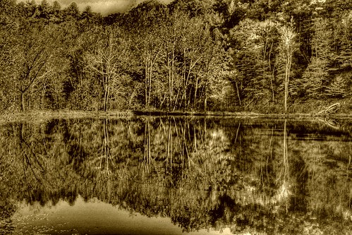 Tranquil Mountain Lake—in sepia