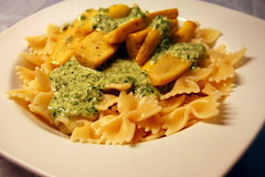 Pasta with creamy kale pesto and baby squash