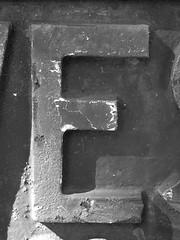 """Letter """"E"""" black-n-white"""