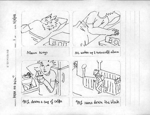 """Hear No Evil"" storyboard, p. 1"