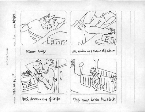 """Hear No Evil"" storyboard, p. 1"