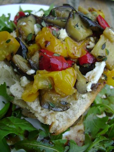 Roasted Vegetables on Toasted Ciabatta