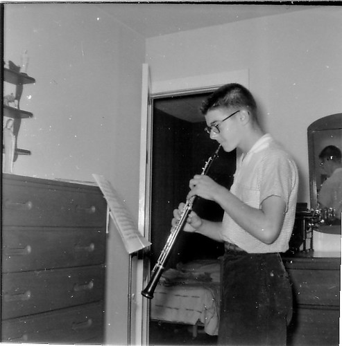 Chick practicing the Oboe c. 1958.jpg