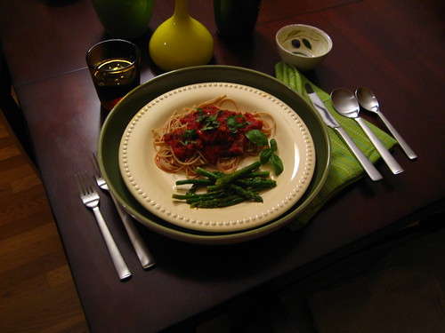 Spaghetti with Italian Sausage Meat Sauce and Steamed Asparagus with Butter-Lime Sauce