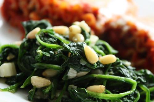 Lasagna Spiral Rolls and Spinach
