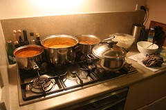 four curries cooking away